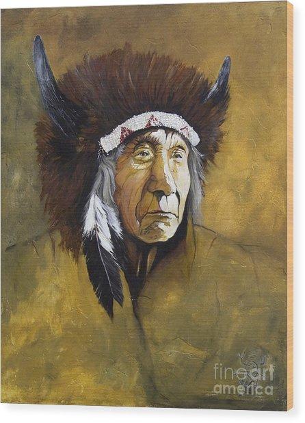 Buffalo Shaman Wood Print