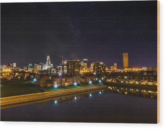 Buffalo Skyline Under The Stars Wood Print