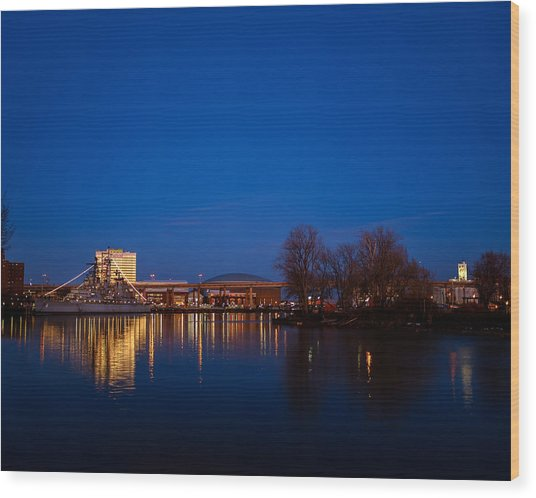 Buffalo Waterfront Twilight Wood Print