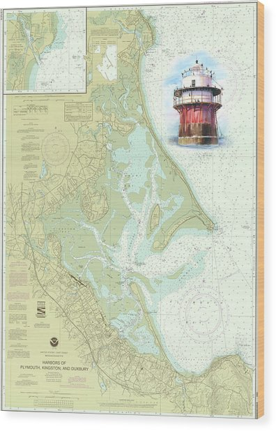 Bug Light On A Noaa Chart Wood Print