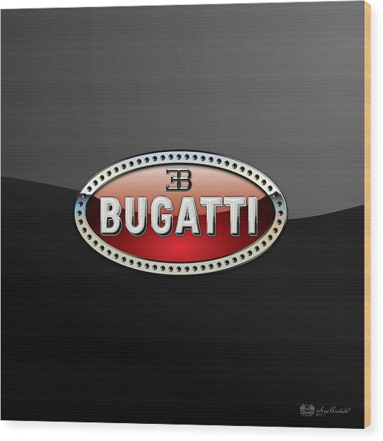 Bugatti - 3 D Badge On Black Wood Print
