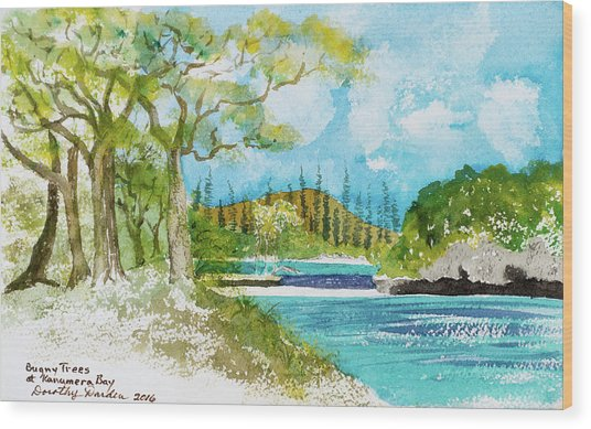 Bugny Trees At Kanumera Bay, Ile Des Pins Wood Print