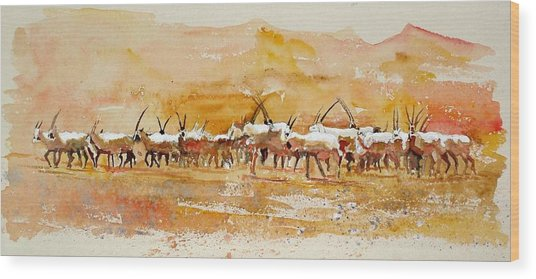 Buharan Oryx Wood Print by Mike Shepley DA Edin