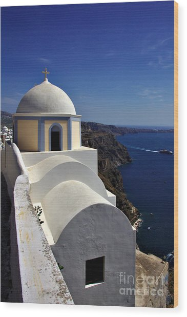 Wood Print featuring the photograph Building In Fira by Jeremy Hayden