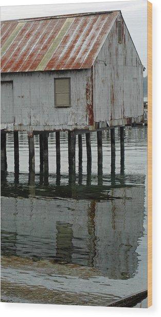 Building Over Water Wood Print by Matthew Adair