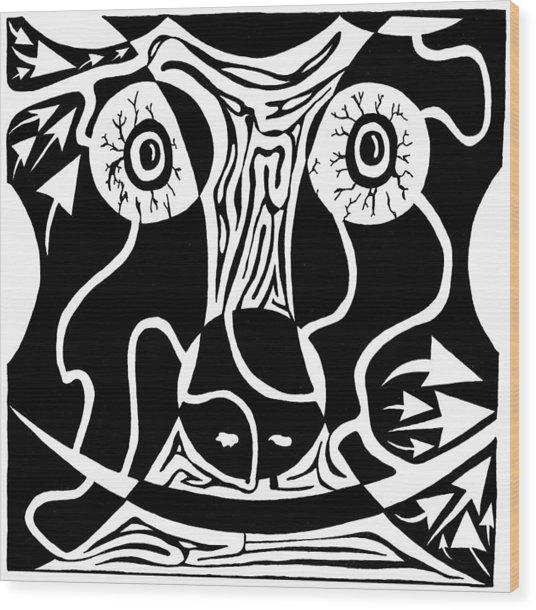 Bull Charging Rorschach Wood Print by Yonatan Frimer Maze Artist