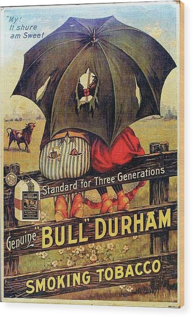 Wood Print featuring the digital art Bull Durham Smoking Tobacco by ReInVintaged