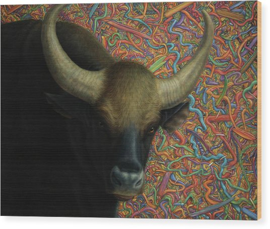 Bull In A Plastic Shop Wood Print
