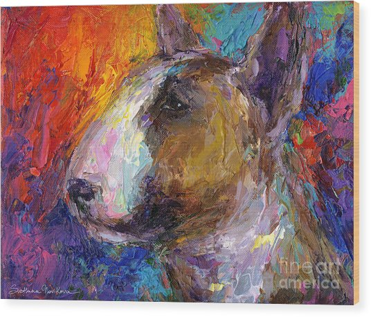 Bull Terrier Dog Painting Wood Print