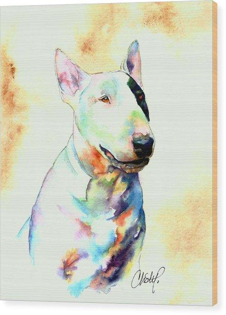 Bull Terrier Dog Portrait Wood Print