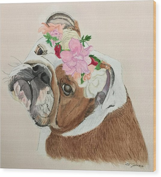Bulldog Bridesmaid Wood Print