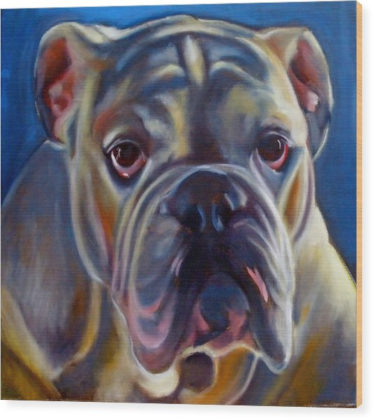 Bulldog Expression 2 Wood Print by Kaytee Esser