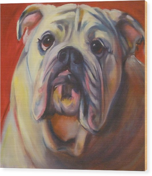 Bulldog Expression One Wood Print by Kaytee Esser