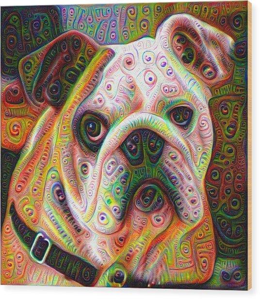 Bulldog Surreal Deep Dream Image Wood Print
