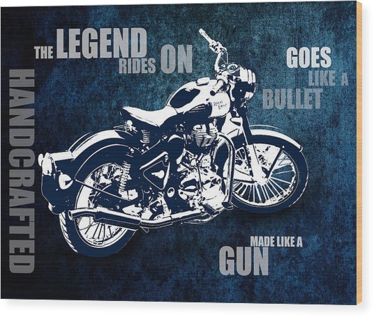 Bullet Blues With Caption Wood Print