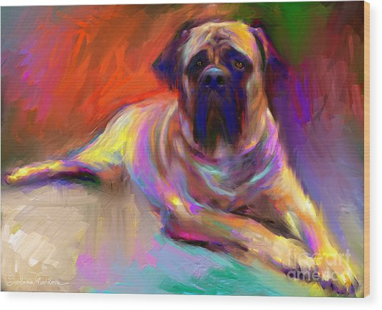 Bullmastiff Dog Painting Wood Print