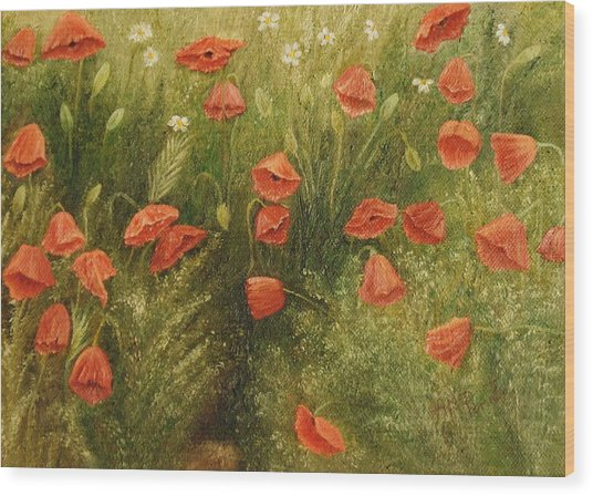 Bunch Of Poppies Wood Print