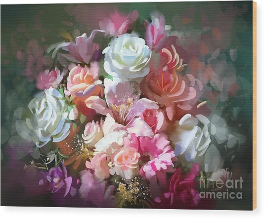 Wood Print featuring the painting Bunch Of Roses by Tithi Luadthong