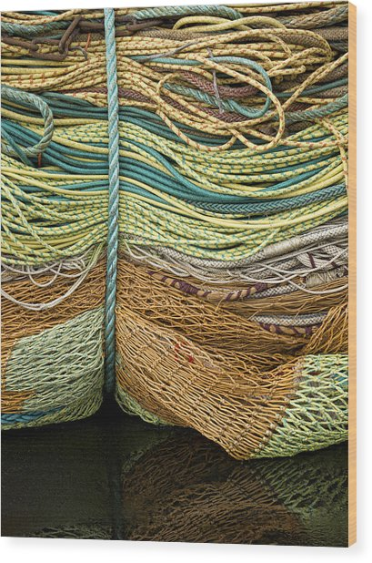 Bundle Of Fishing Nets And Ropes Wood Print
