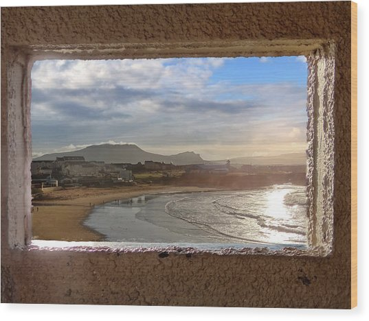 Bundoran And The Dartry Mountains Framed In The Window Of The Rougey Walk Shelter Wood Print
