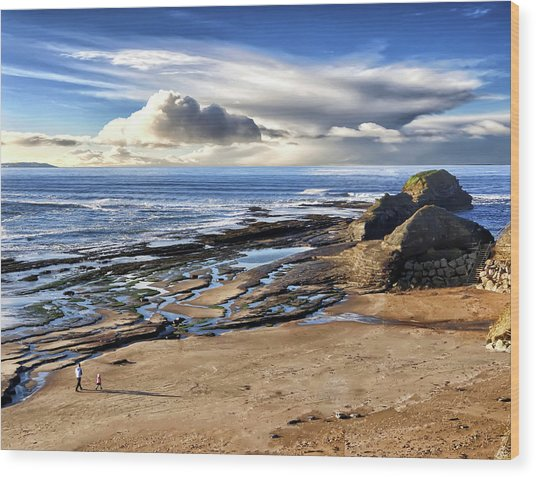 Bundoran Beach And Rougey Rocks Wood Print