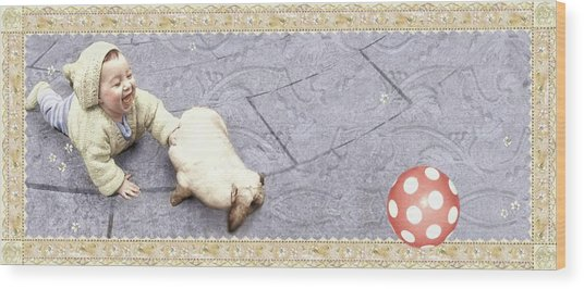 Baby Chases Bunny Wood Print