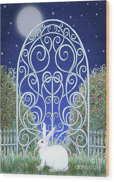 Bunny, Gate And Moon Wood Print