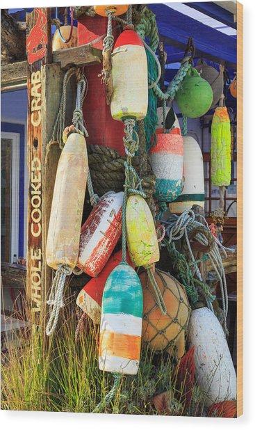 Buoys At The Crab Shack Wood Print