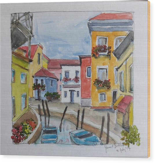Burano, Italy Wood Print by Janet Butler