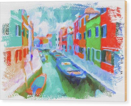 Burano, Venice, Italy Wood Print