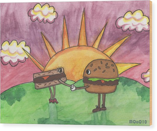 Burger And Patty Wood Print by Michelley QueenofQueens