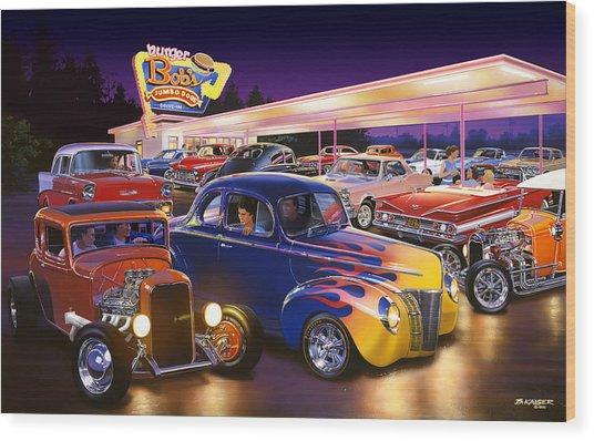 Burger Bobs Wood Print