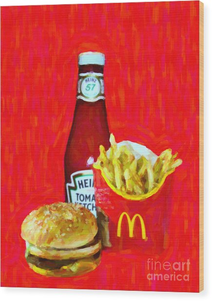 Burger Fries And Ketchup Wood Print by Wingsdomain Art and Photography