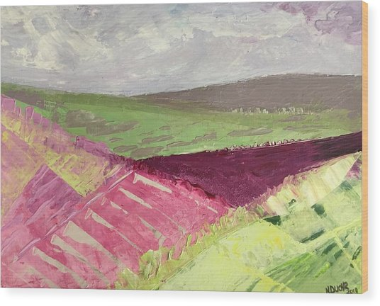 Burgundy Fields Wood Print