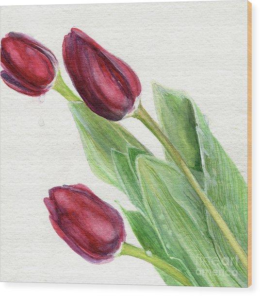 Burgundy Tulips Wood Print