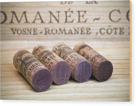 Burgundy Wine Corks Wood Print
