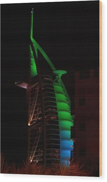 Burj Al Arab Dubai Night Wood Print by Iain MacVinish