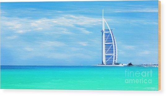 Burj Al Arab Hotel On Jumeirah Beach In Dubai Wood Print