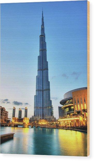 Burj Khalifa Sunset Wood Print