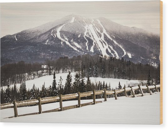 Burke Mountain And Fence Wood Print