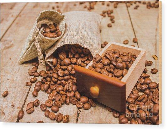Burlap Bag Of Coffee Beans And Drawer Wood Print