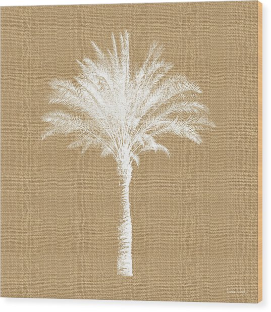 Burlap Palm Tree- Art By Linda Woods Wood Print