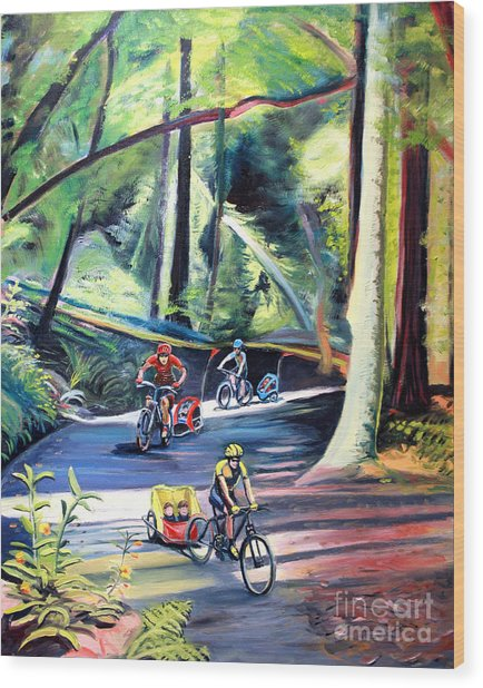 Burley Bike Parade On Shaver Grade Wood Print by Colleen Proppe
