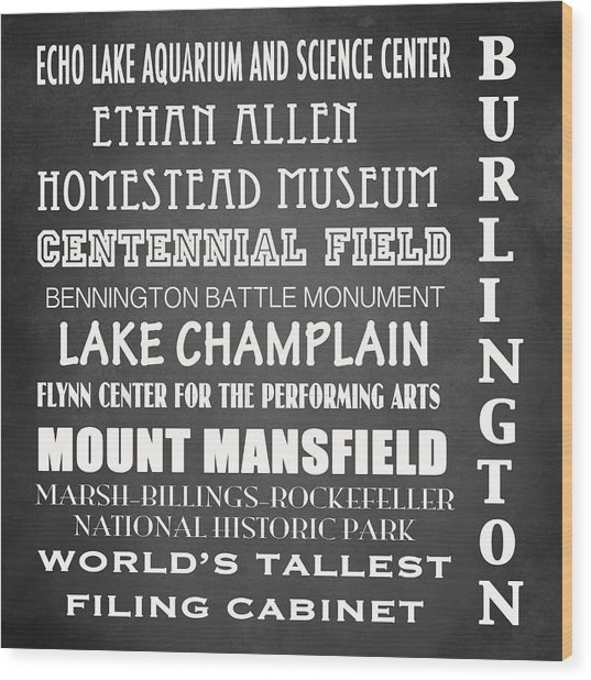 Burlington Famous Landmarks Wood Print