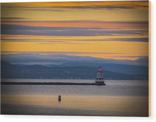 Burlington Lighthouse Sunset Wood Print