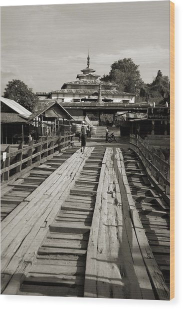 Burmese Wooden Bridge Wood Print by Jessica Rose