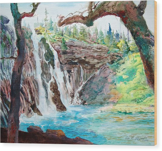 Burney Falls Wood Print by John Norman Stewart