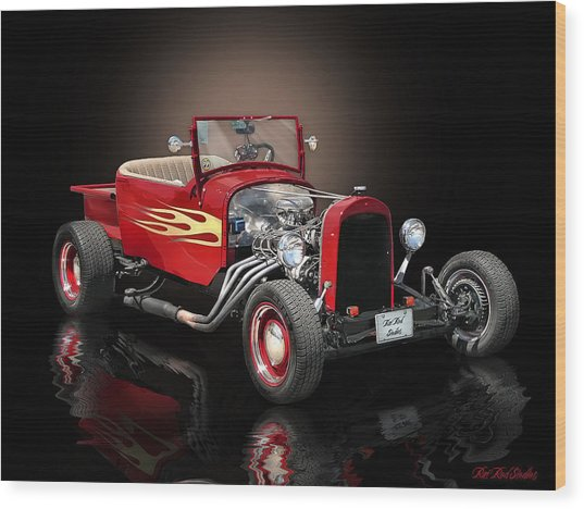 Burnin' Up The Back Streets Tearin' Up The Town Wood Print by Rat Rod Studios