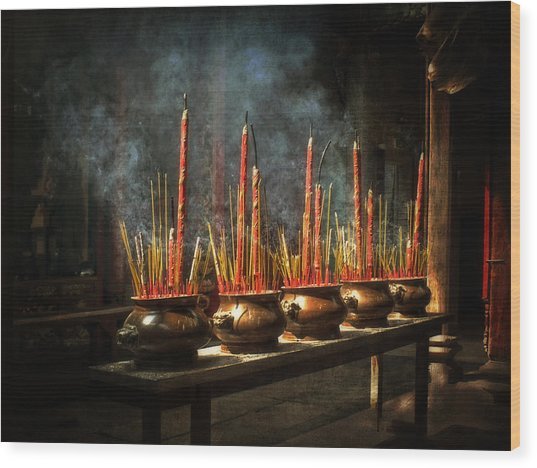 Burning Incense Wood Print