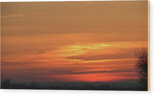 Burning Sunset Wood Print